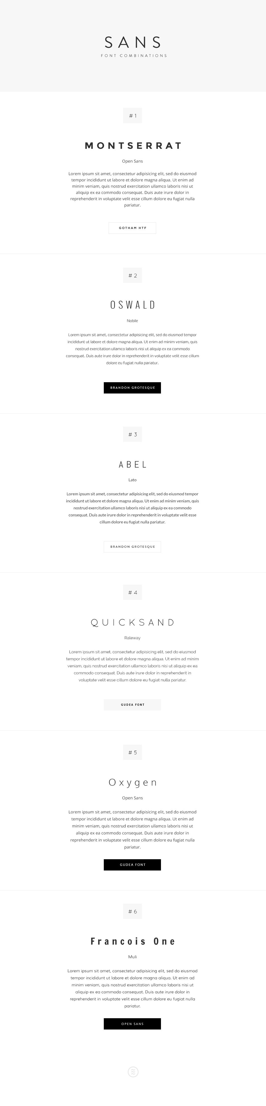 Sans Fonts combinations