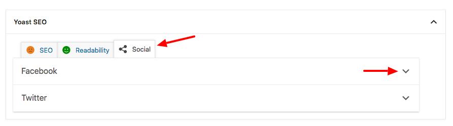 Yoast SEO social settings tab