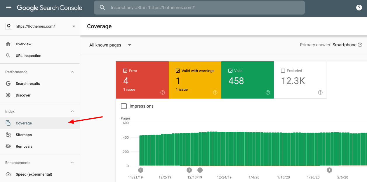 search console coverage report