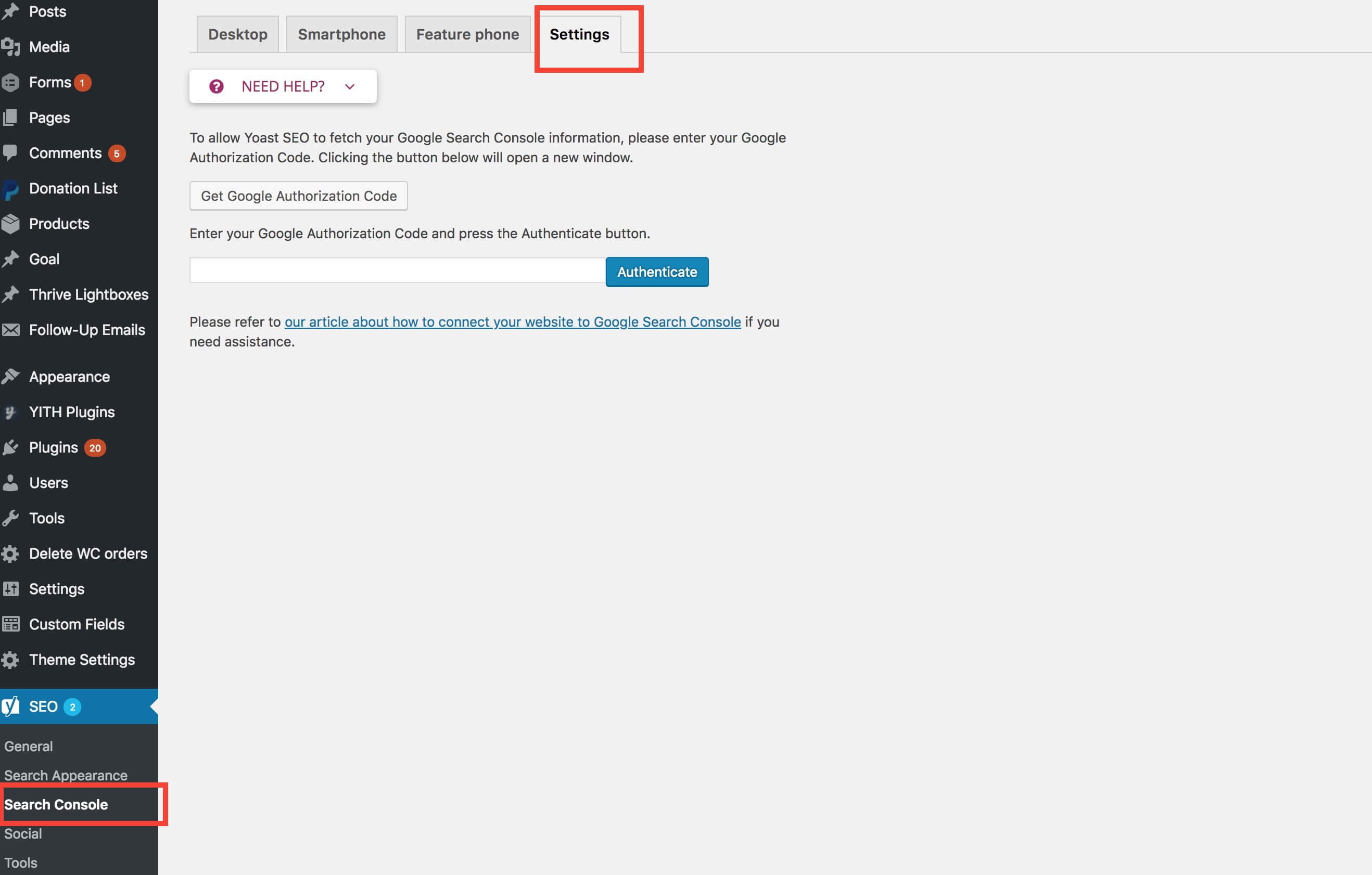 yoast seo plugin Search console (1)