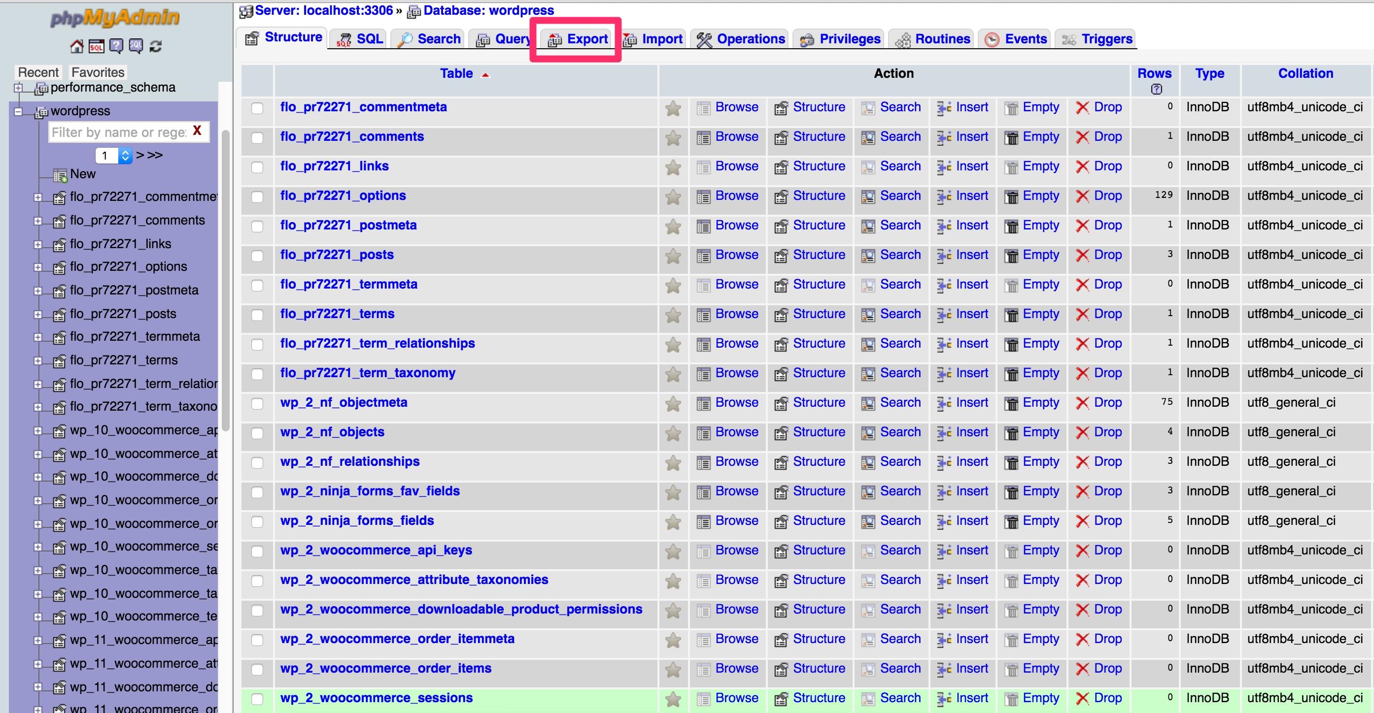 phpMyAdmin-tables-export
