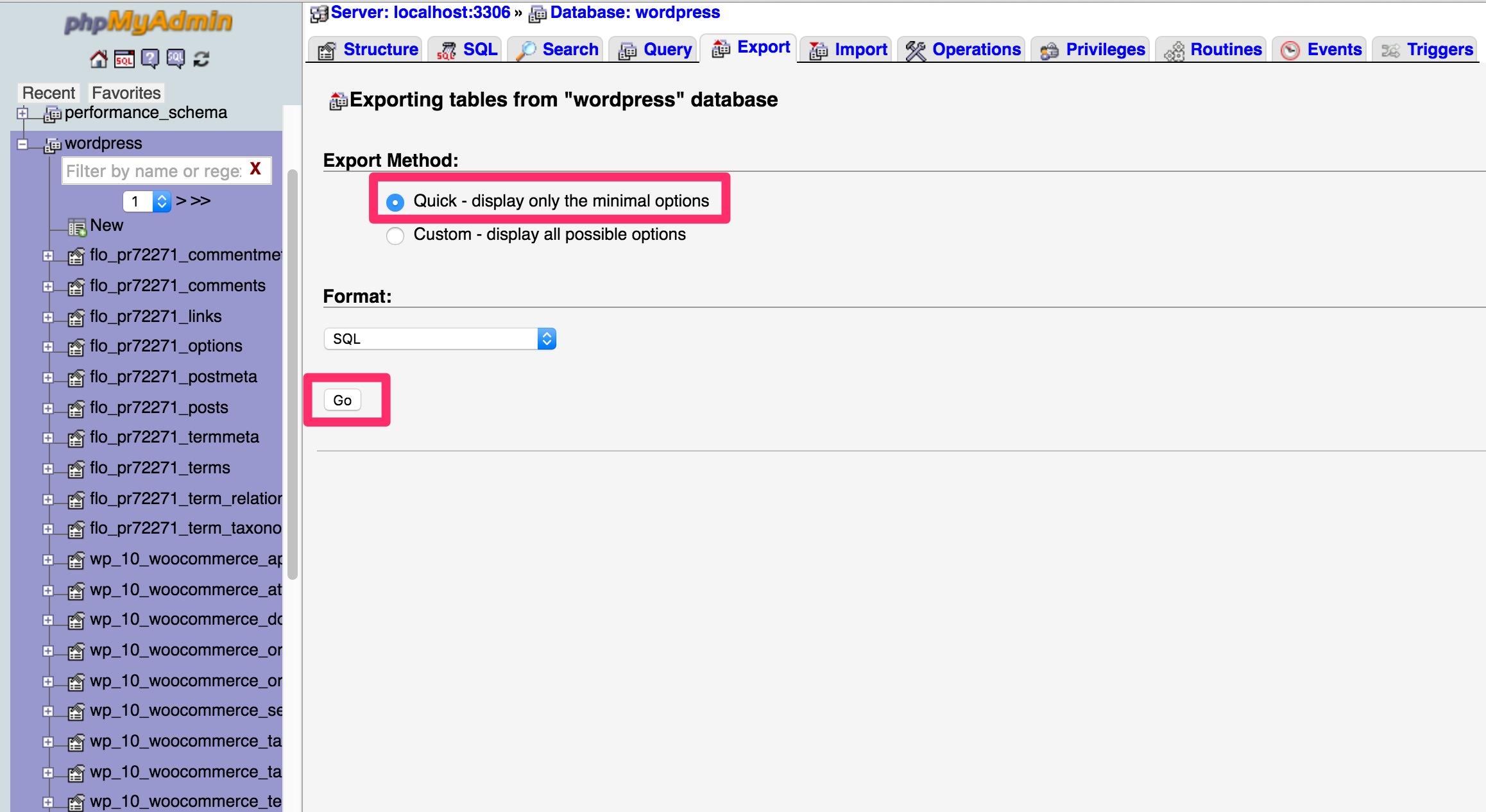 quick-export-database-phpMyAdmin