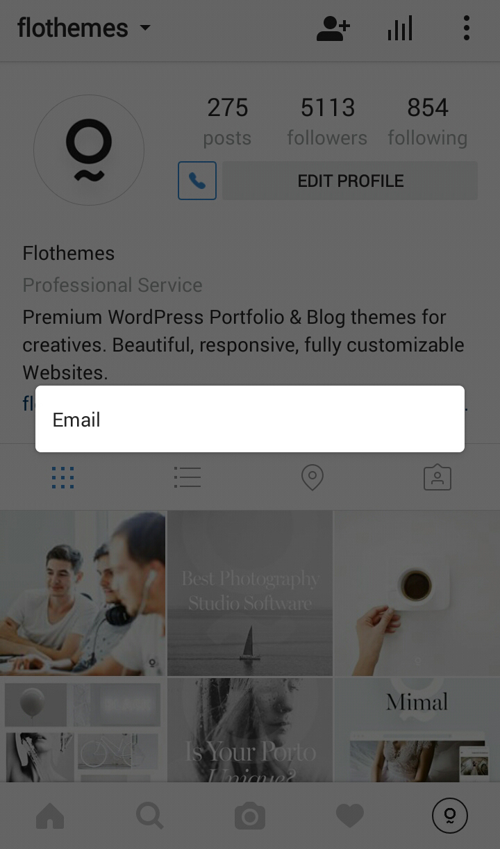 Switch to Instagram Business Account, contact information