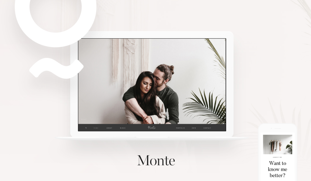 Monte modern wordpress theme for wedding, portrait, travel photographers, nicole mason, flothemes