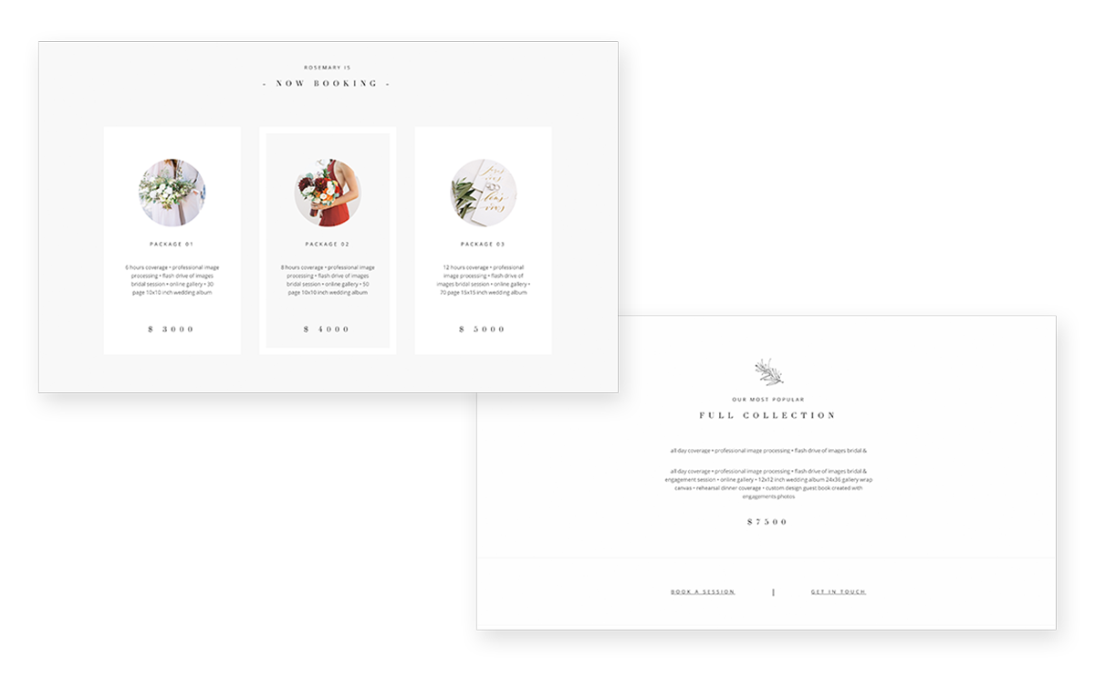Rosemary wordpress theme for film photographers, pricing page design, jeremy chou, flothemes
