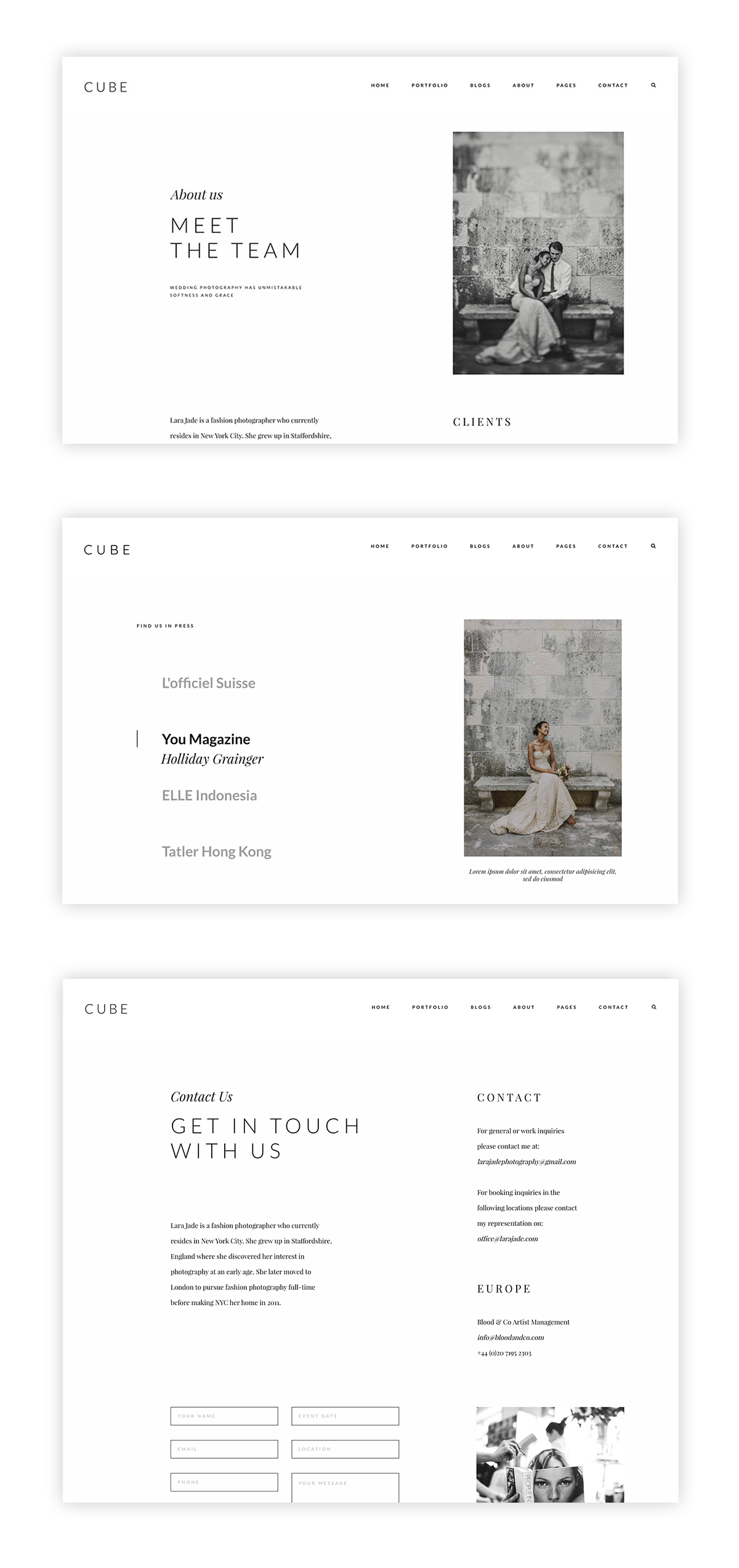 cube-wordpress website theme for photographers and videographers