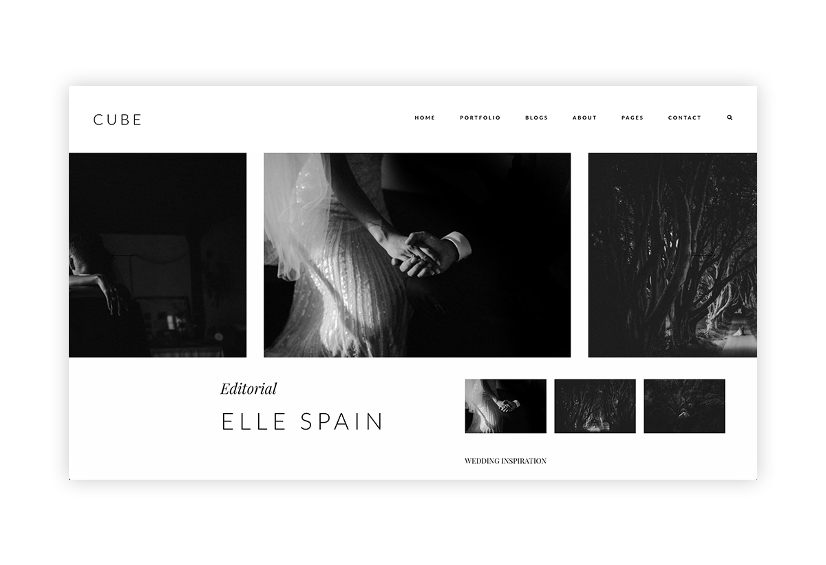 cube-wordpress website theme for photographers and videographers, gallery view