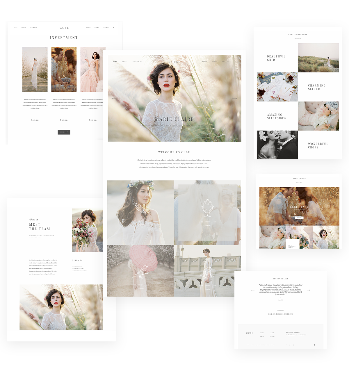 Cube Website Theme WordPress wedding photography, videography