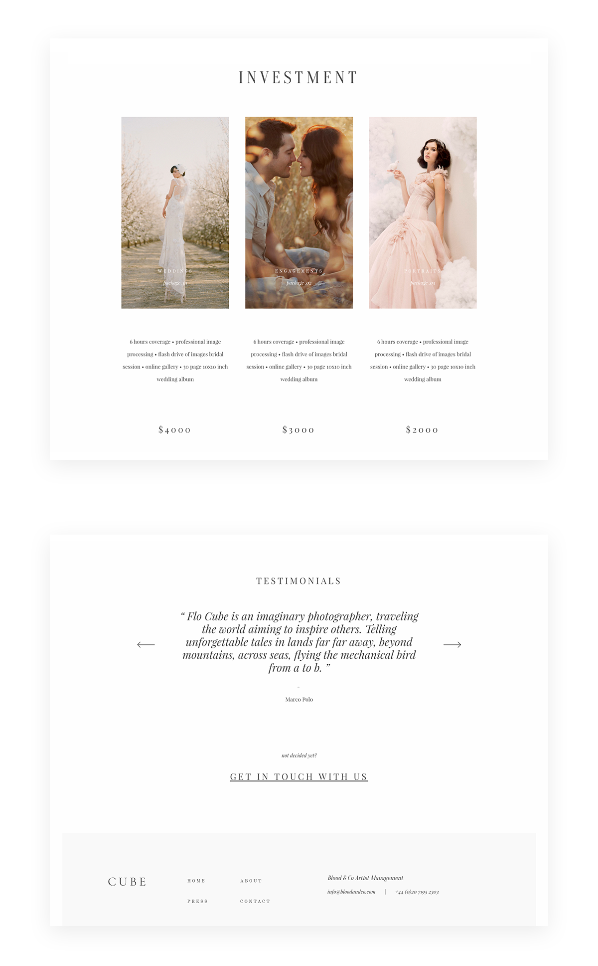 Cube Website Theme WordPress wedding photography, testimonials, pricing page & investment