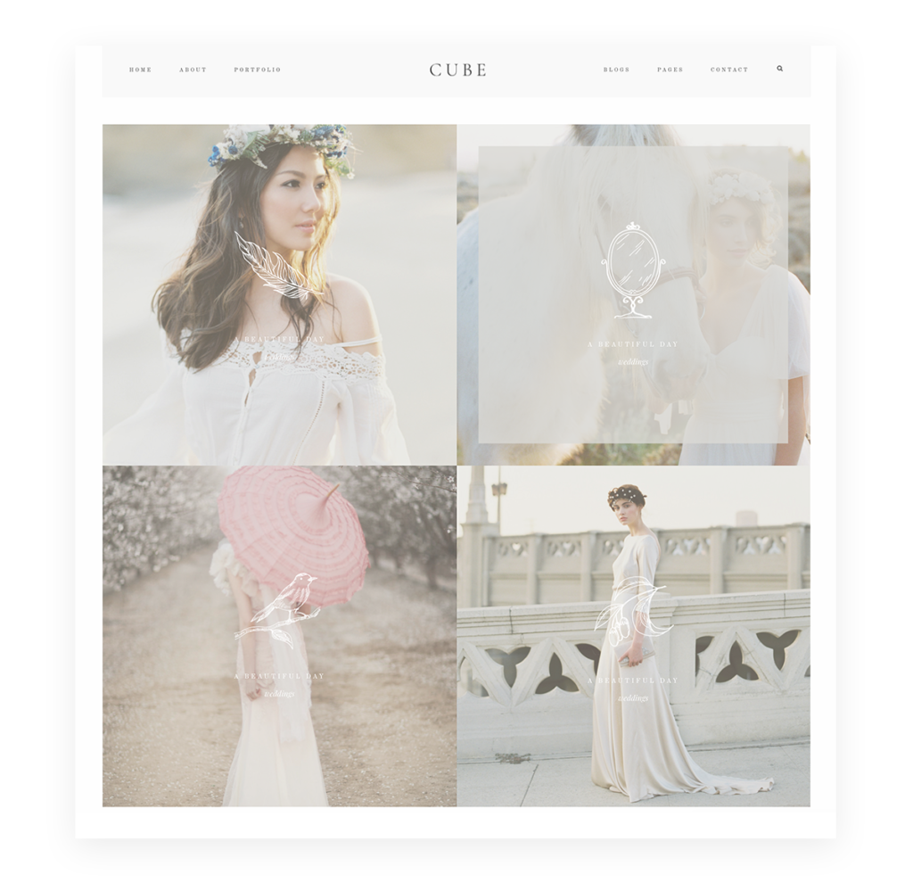 Cube Website Theme WordPress wedding photography, decorative overlay icons