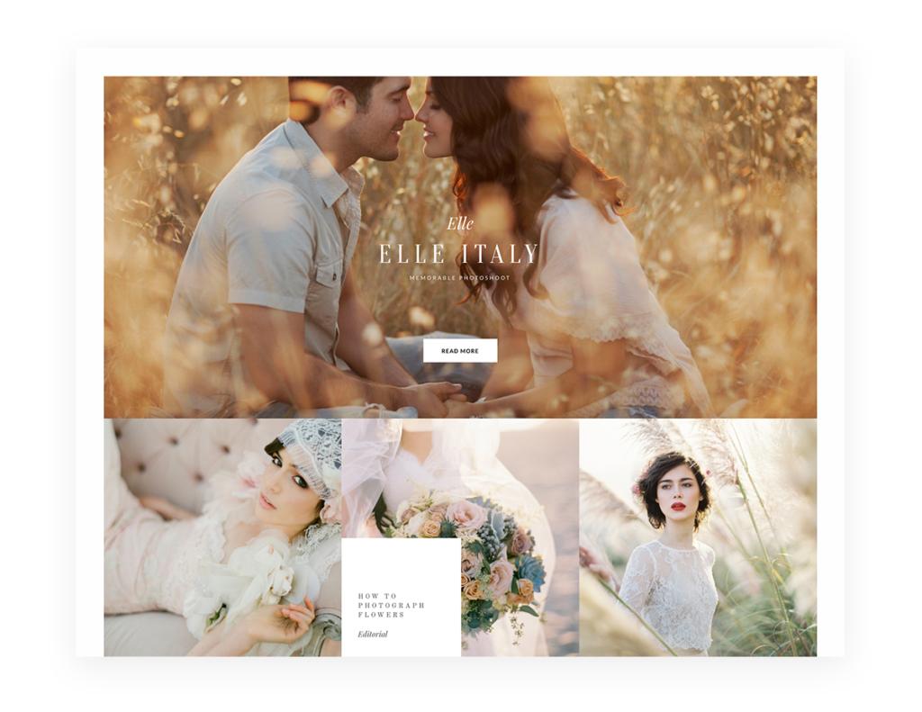 Cube Website Theme WordPress wedding photography, border, frame