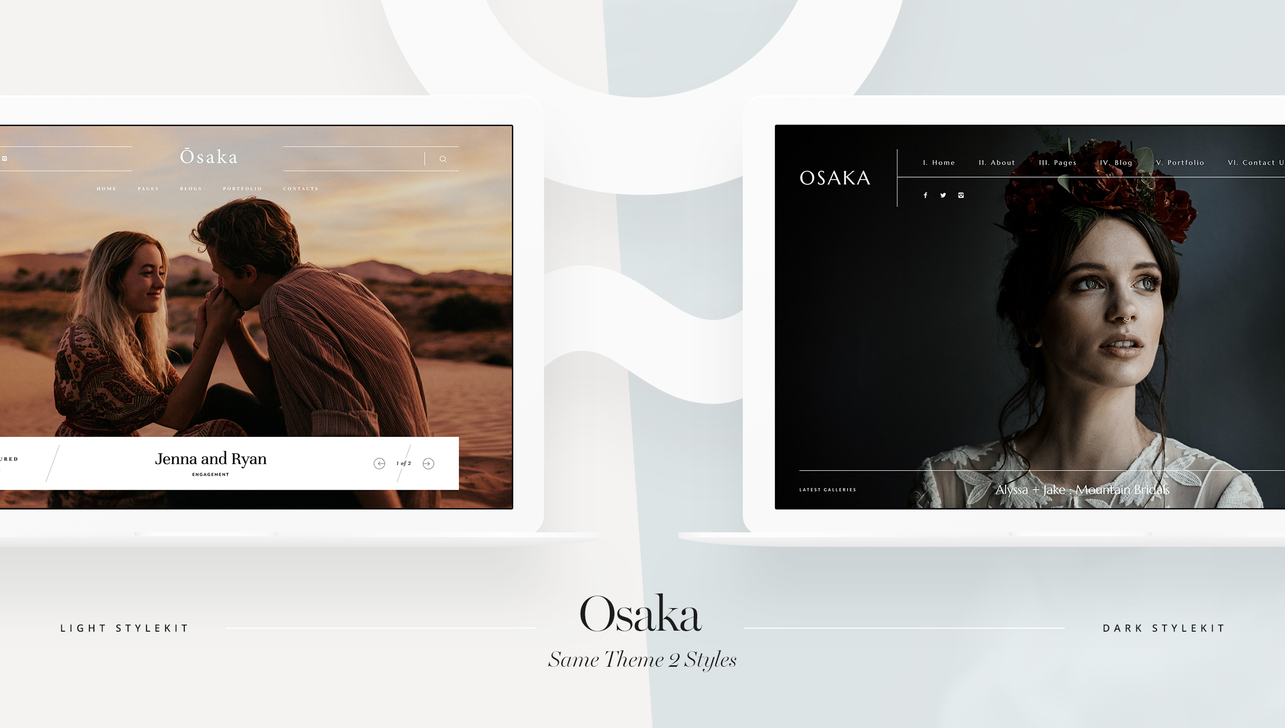Osaka, muse and mirror and india earl photography, website theme for photographers. light and dark style kit