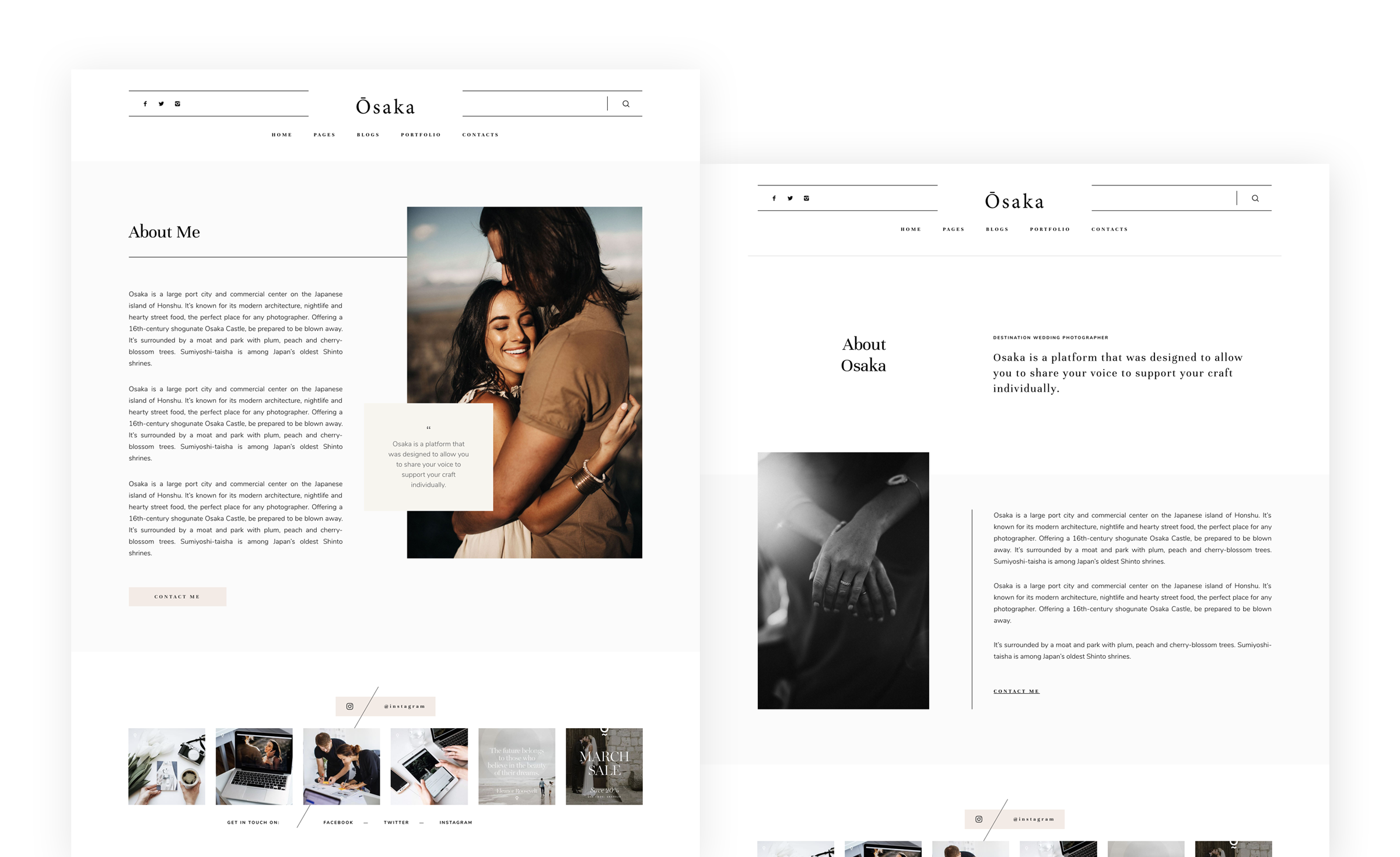 Osaka - Best Website Theme for Storytellers & Bloggers, India Earl photography, Flothemes websites for photographers, About pages