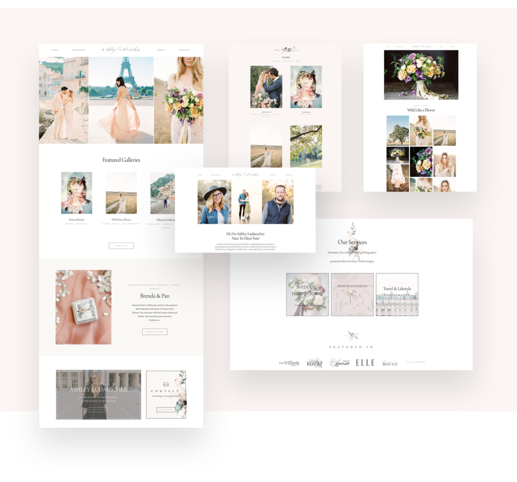 Ashley Ludaescher Photography, website design by flothemes, custom package design, page layouts, wedding photography Paris