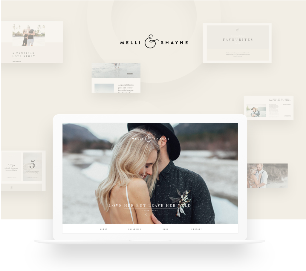 Melli & Shayne Wedding Photography, Germany, website design, flothemes, rebranding