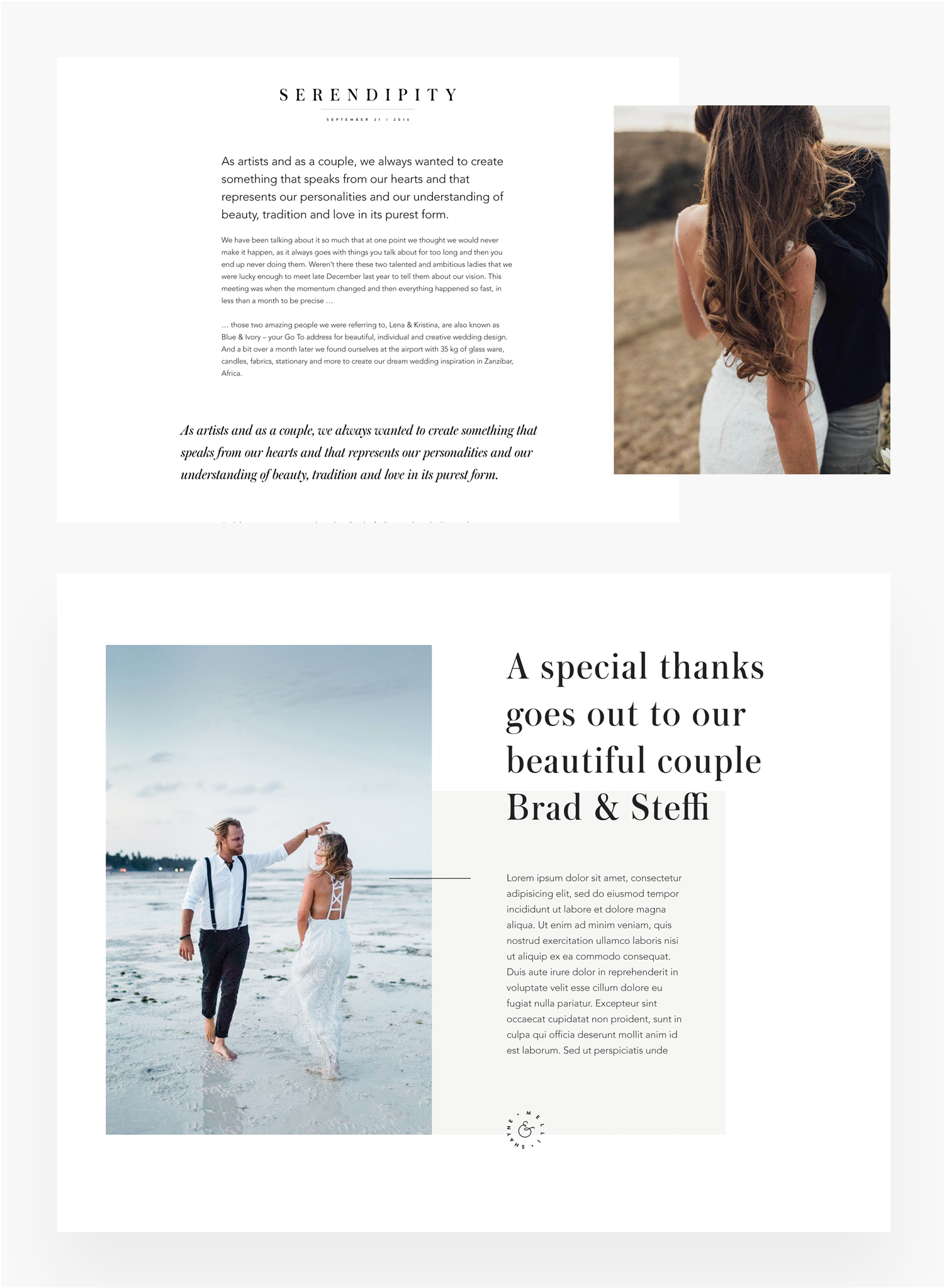 Melli & Shayne Wedding Photography, Germany, website design, flothemes, branding blog layout