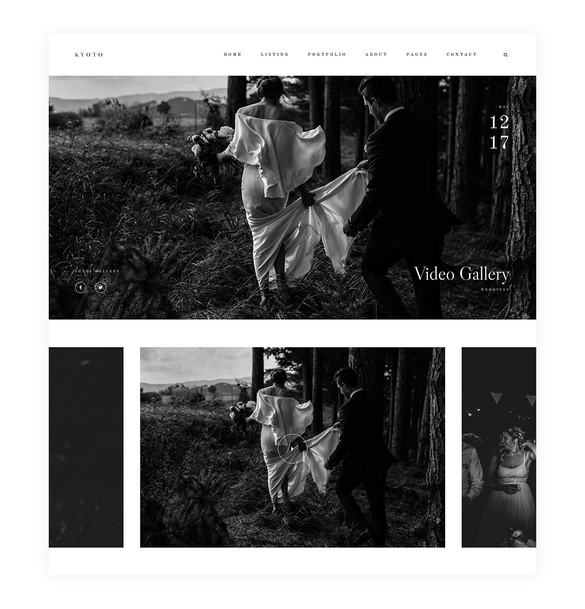 Kyoto Photography website theme Video Gallery layouts