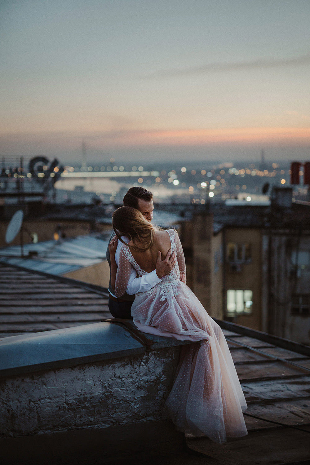 Danilo & Sharon: How to Stop Seeking Perfection in Photography, Serbia, rooftop, wedding dress