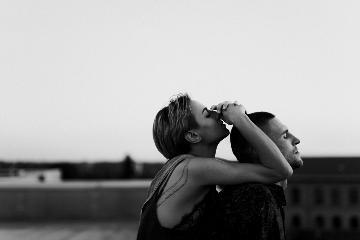 Danilo & Sharon: How to Stop Seeking Perfection in Photography, Serbia, rooftop, couple session, black and white, intimate