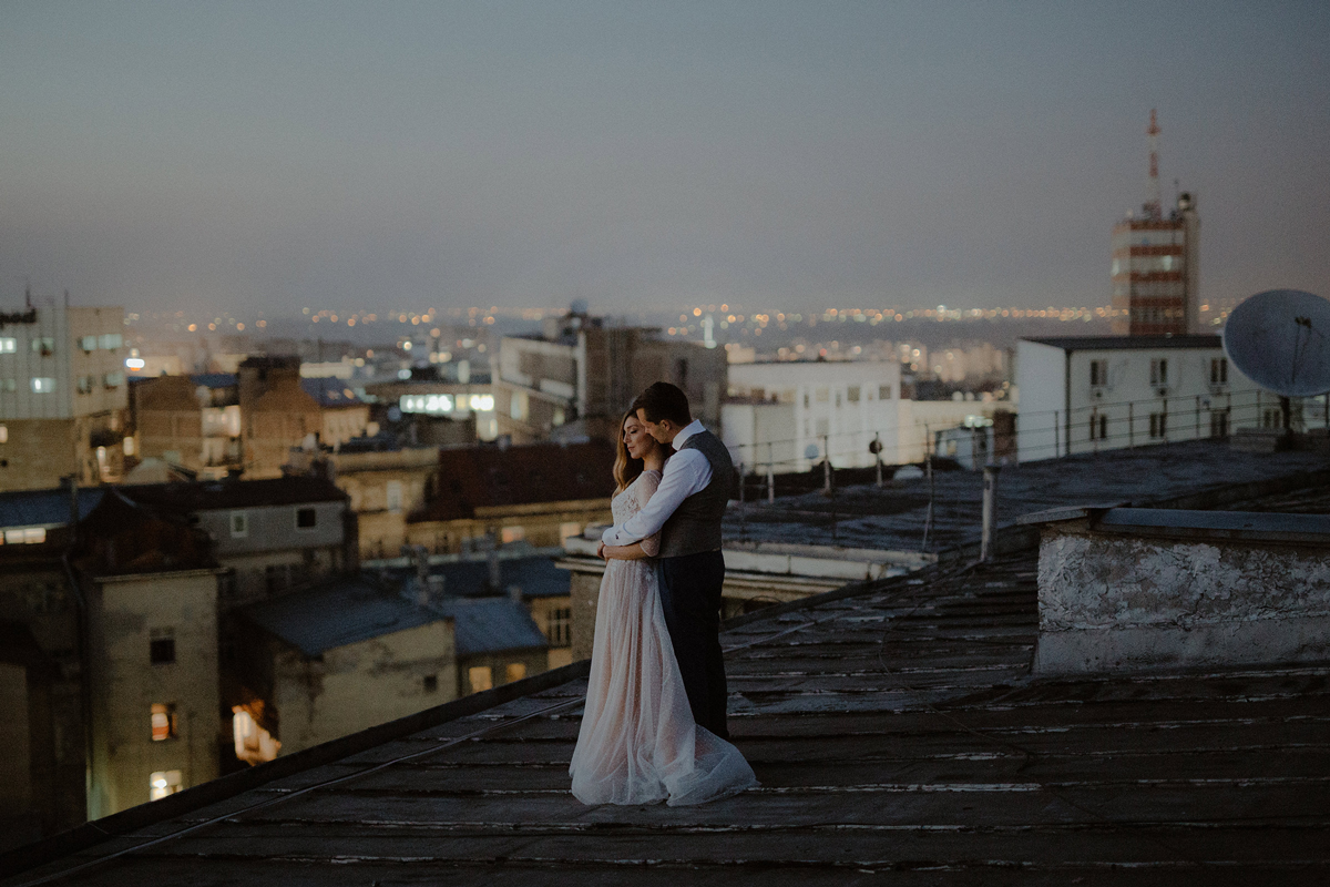 Danilo & Sharon: How to Stop Seeking Perfection in Photography, Serbia, rooftop, couple shoot, wedding dress
