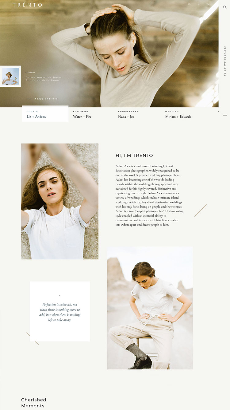 Paginas-Web-para-Fotografos---Flothemes, Trento theme