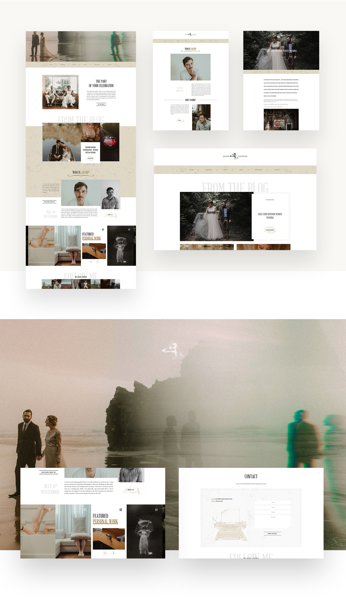 Jacob Loafman Custom Website Design layouts by Flothemes, wedding and conceptual photography