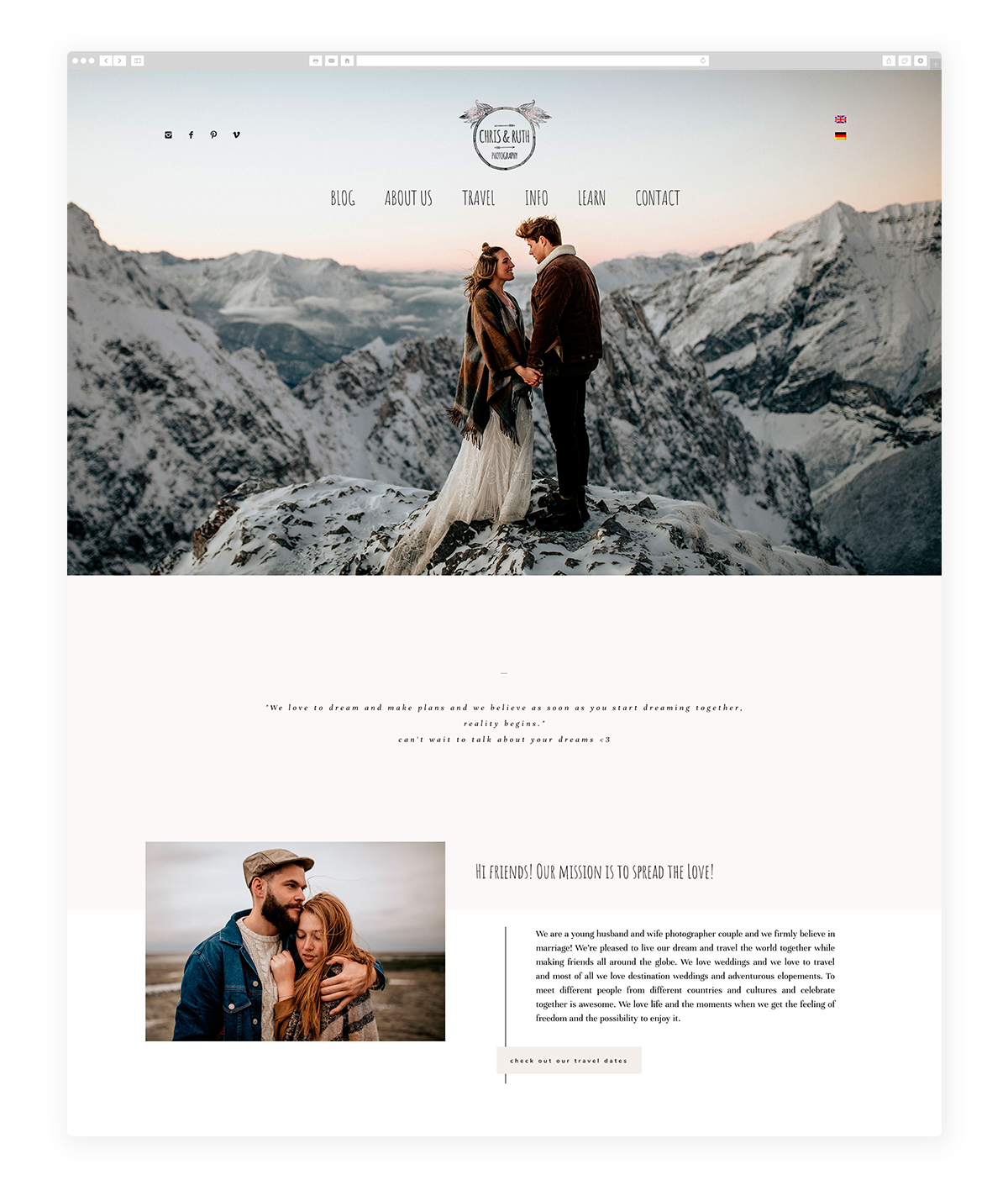 osaka-website design, theme-Chris and Ruth wedding photography, site design, flothemes