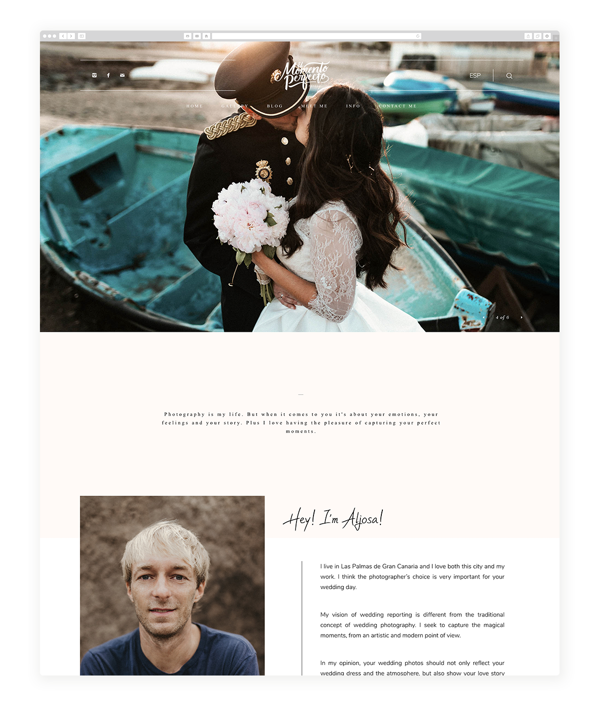 osaka-website design, theme, wedding photography, site design, flothemes, El Momento Perfecto Fotografo