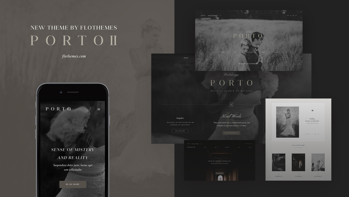 Porto II theme, Elegant website design for photographers, responsive design