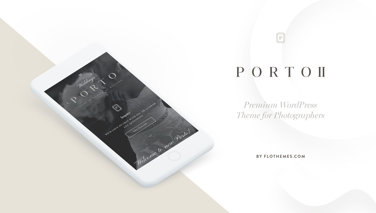 Porto 2 elegant website design for photographers, layouts