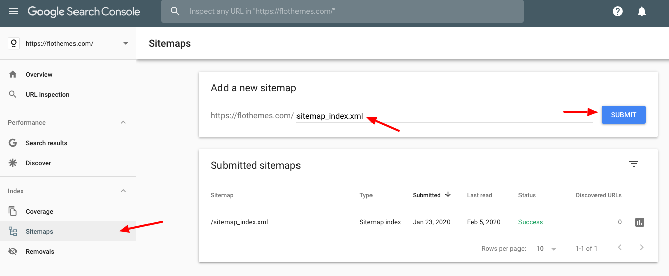 how to submit a sitemap in SC