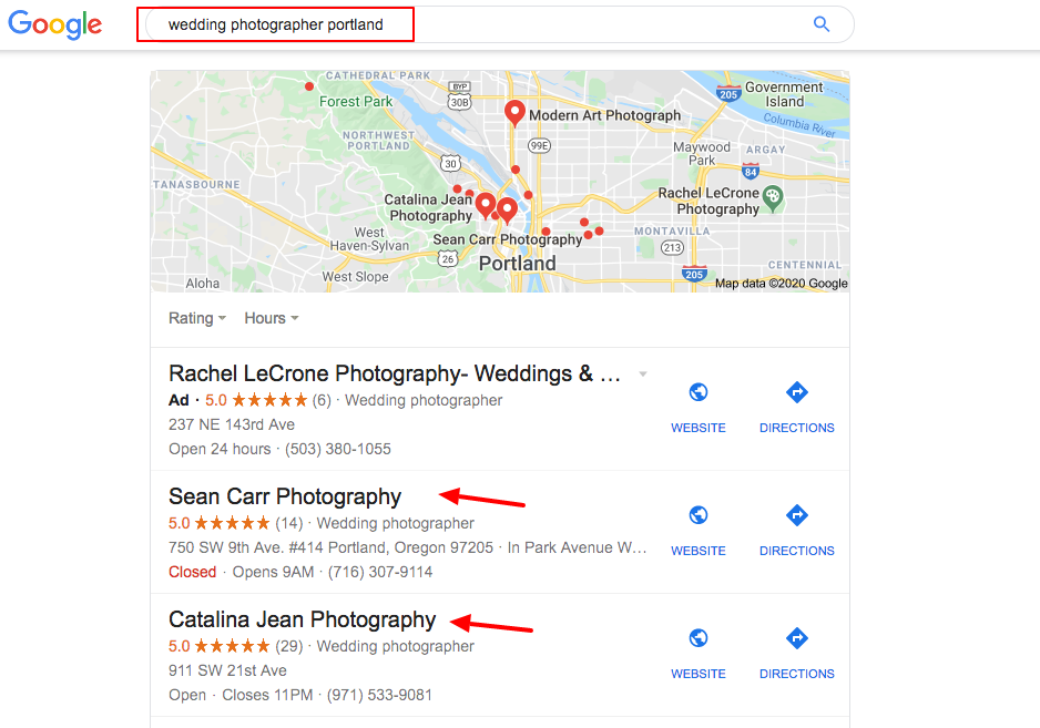 local search result wedding photographer