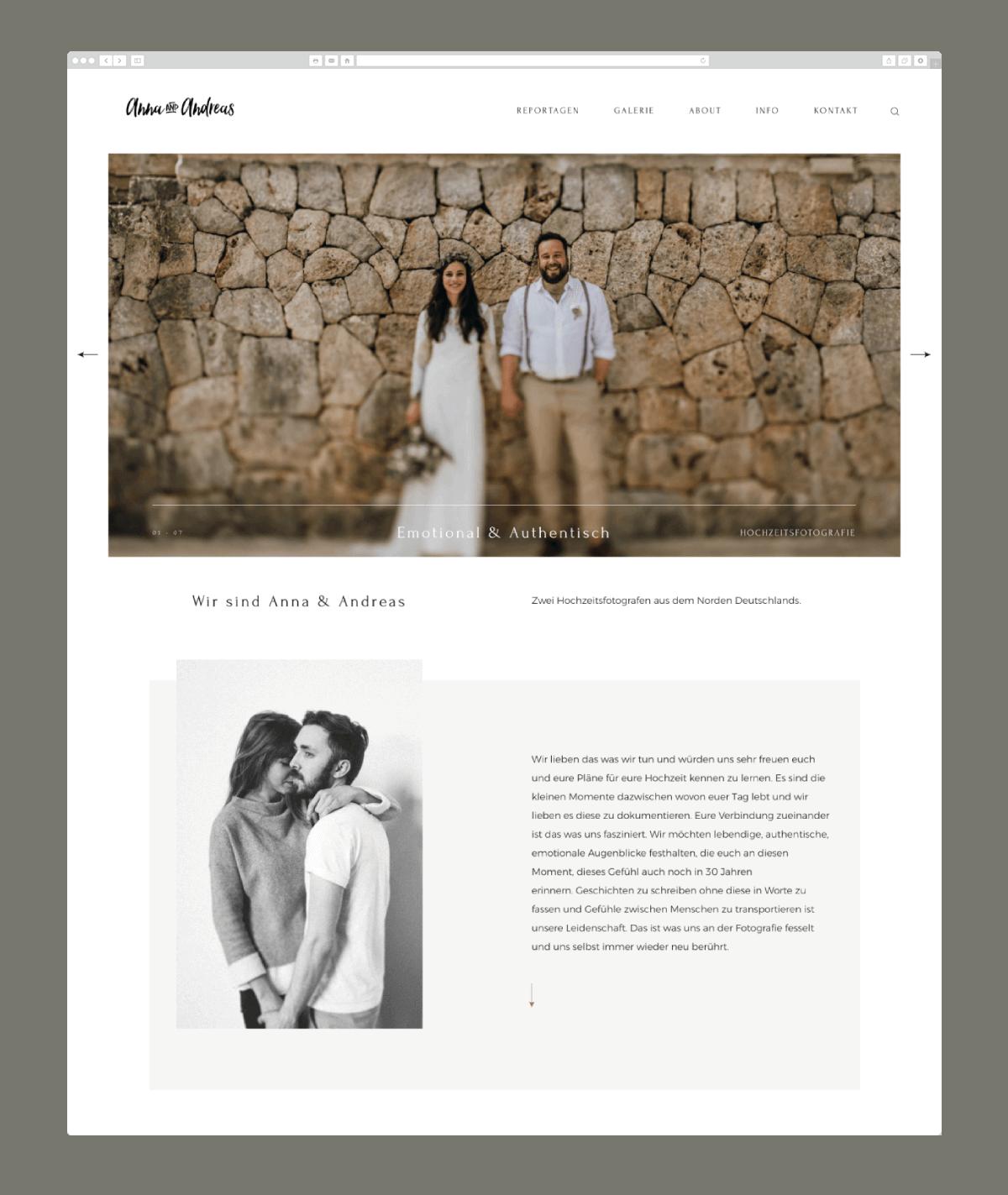 wedding photography website design marrymedesign.de
