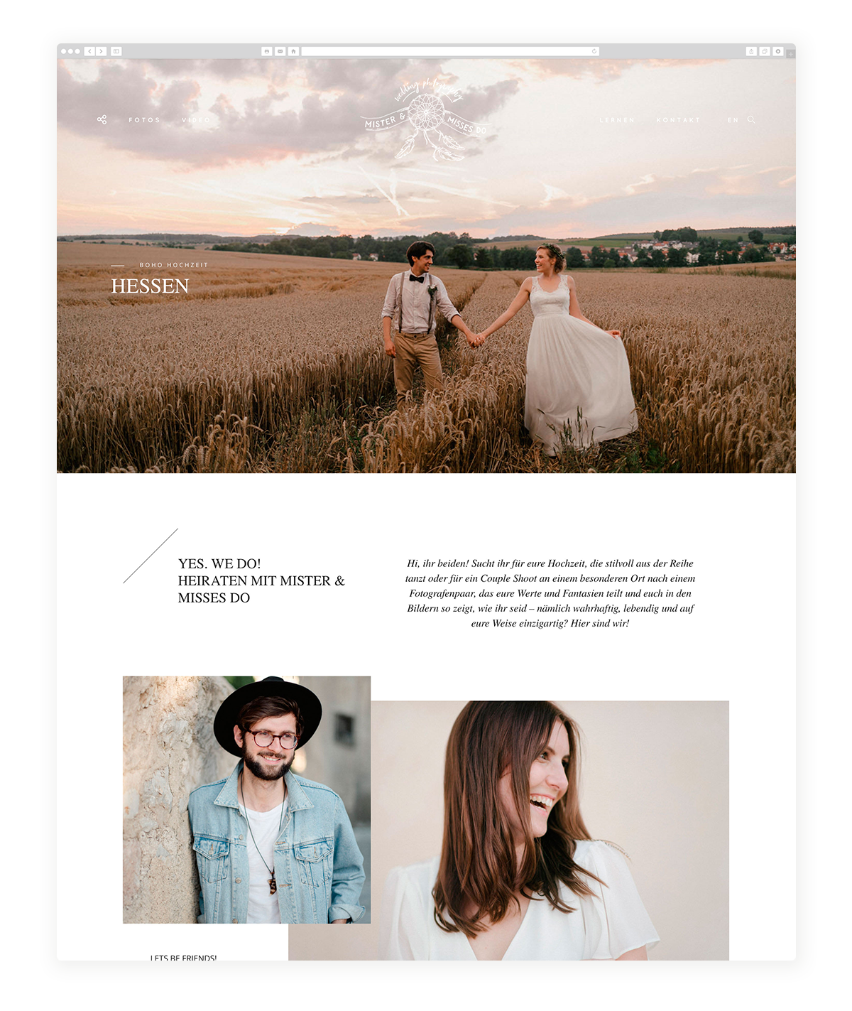 German Photographers using Flothemes for their website Mister and Misses Do, Hannes Thun