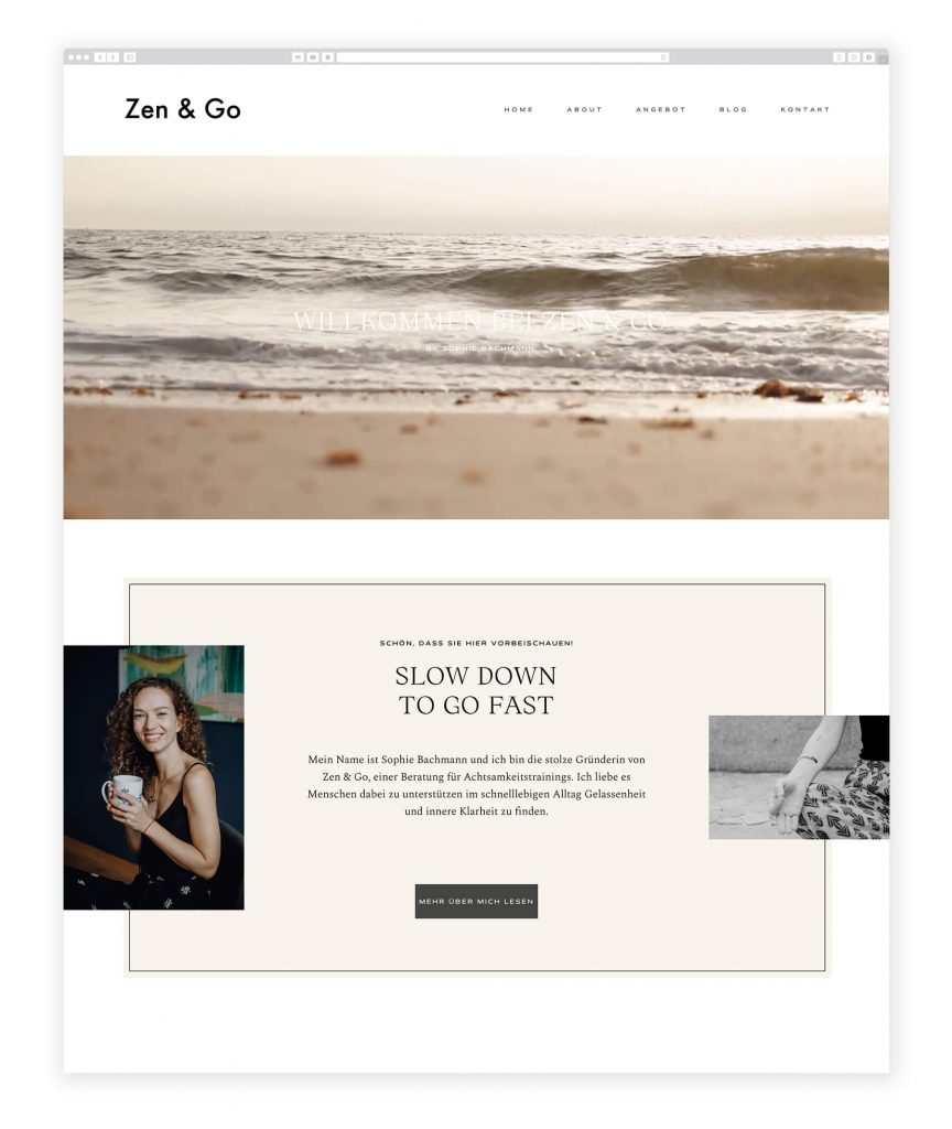 German website examples, mindfulness consultancy, life couch
