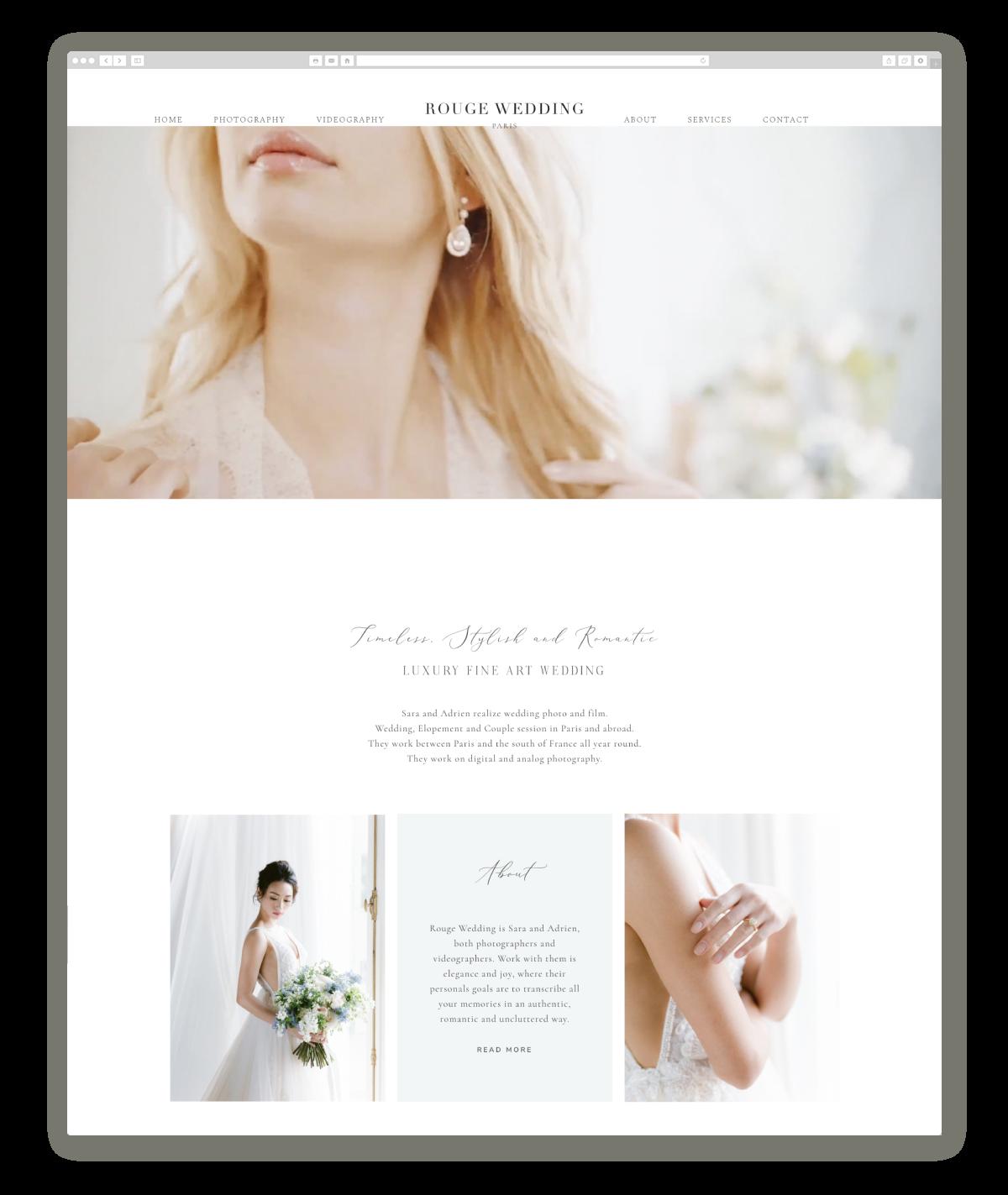 wedding photography website design rougewedding.com