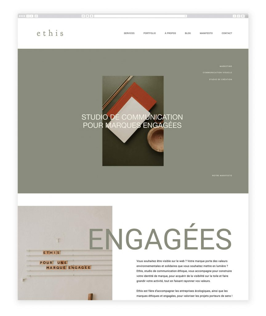Studio Ethis communication studio website