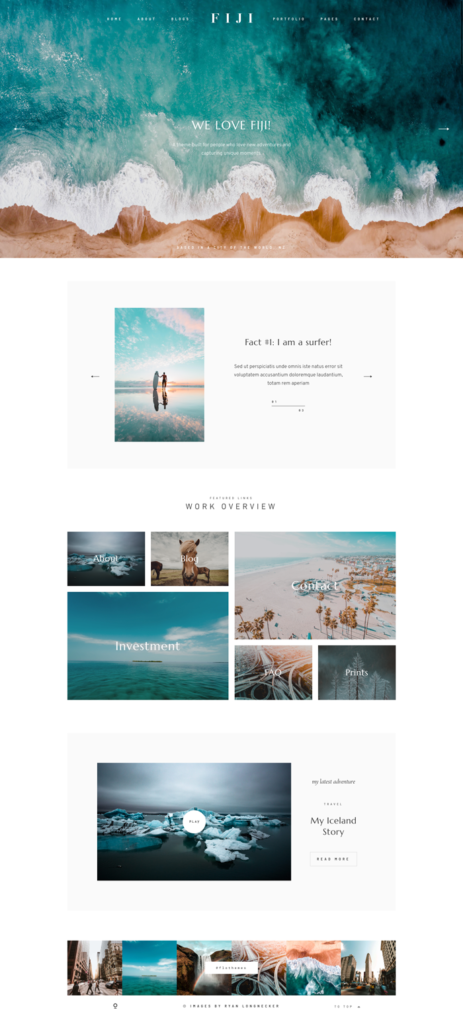 Fiji website theme for travel photography, lifestyle, fashion and food bloggers, flothemes, pinterest