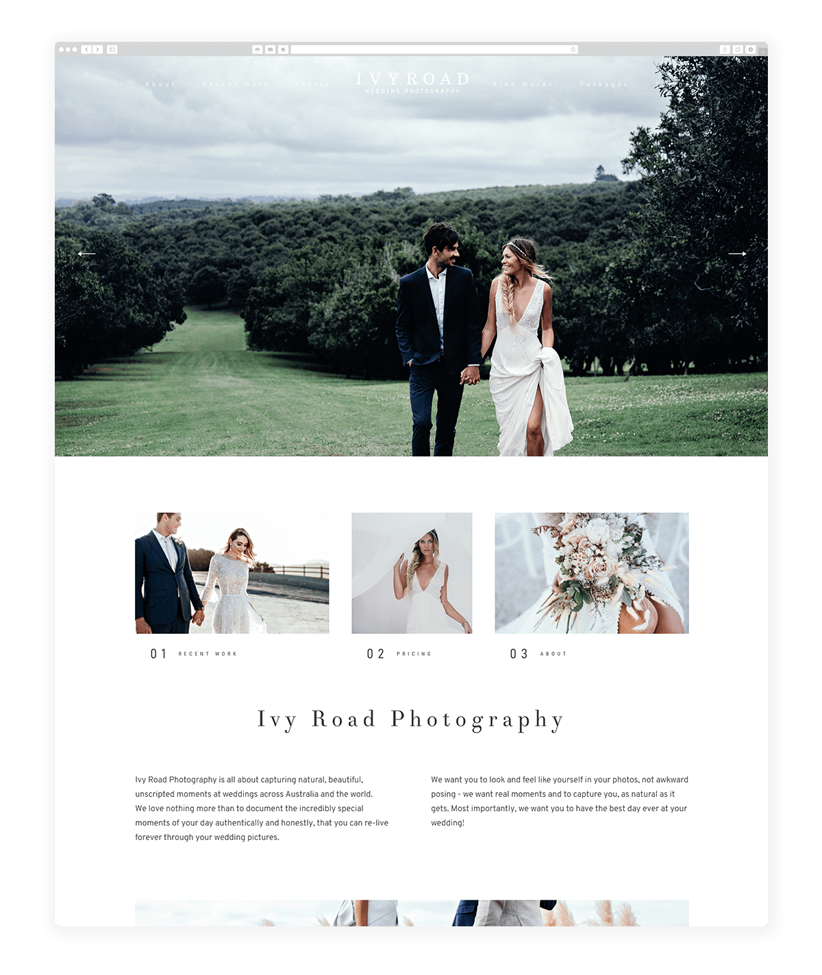 15 amazing photography website built with Fiji theme, Ivy Road photography