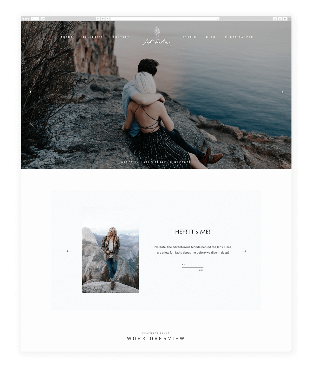 15 amazing photography website built with Fiji theme, kate becker photography