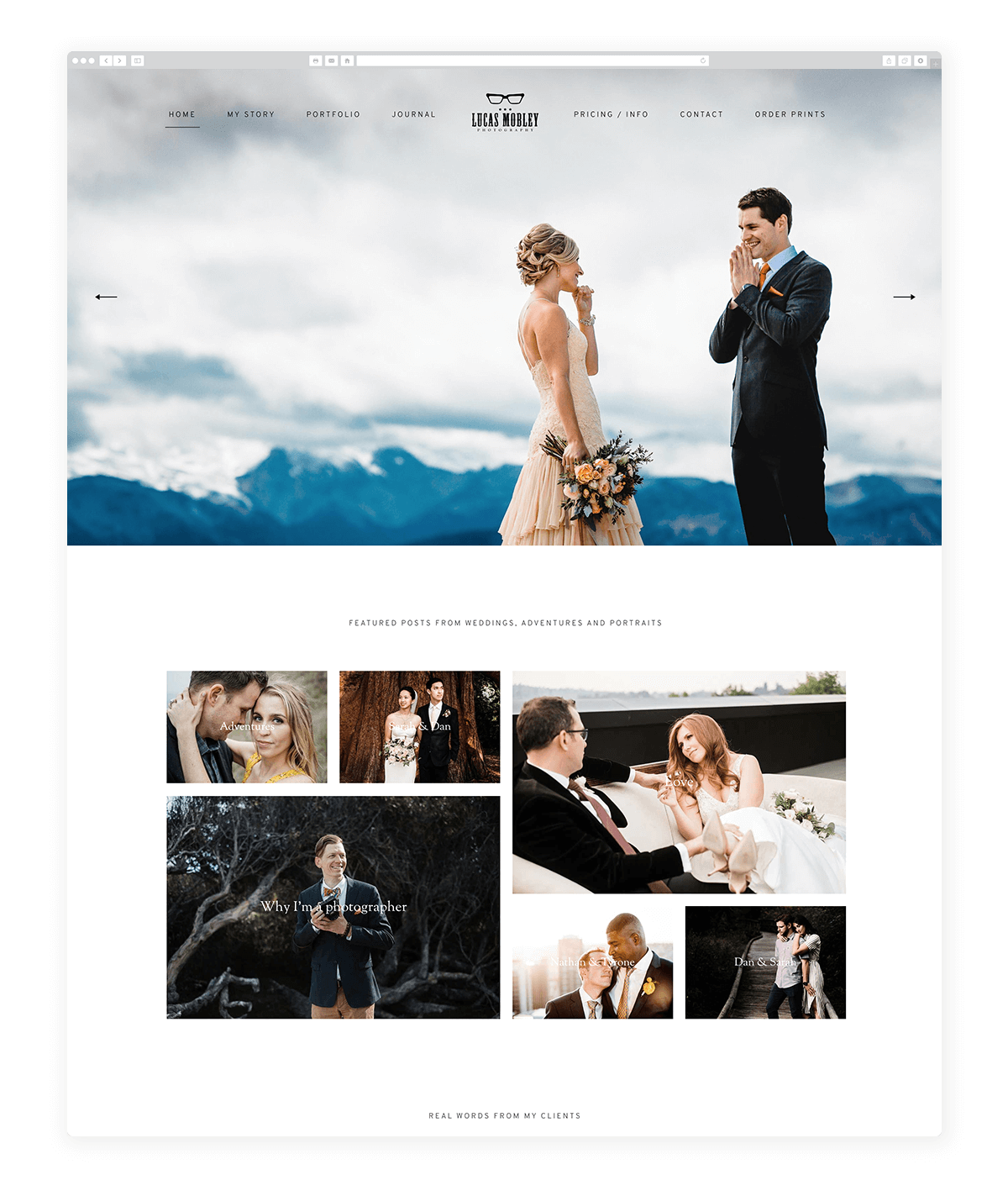 15 amazing photography website built with Fiji theme, Lucas Mobley photography
