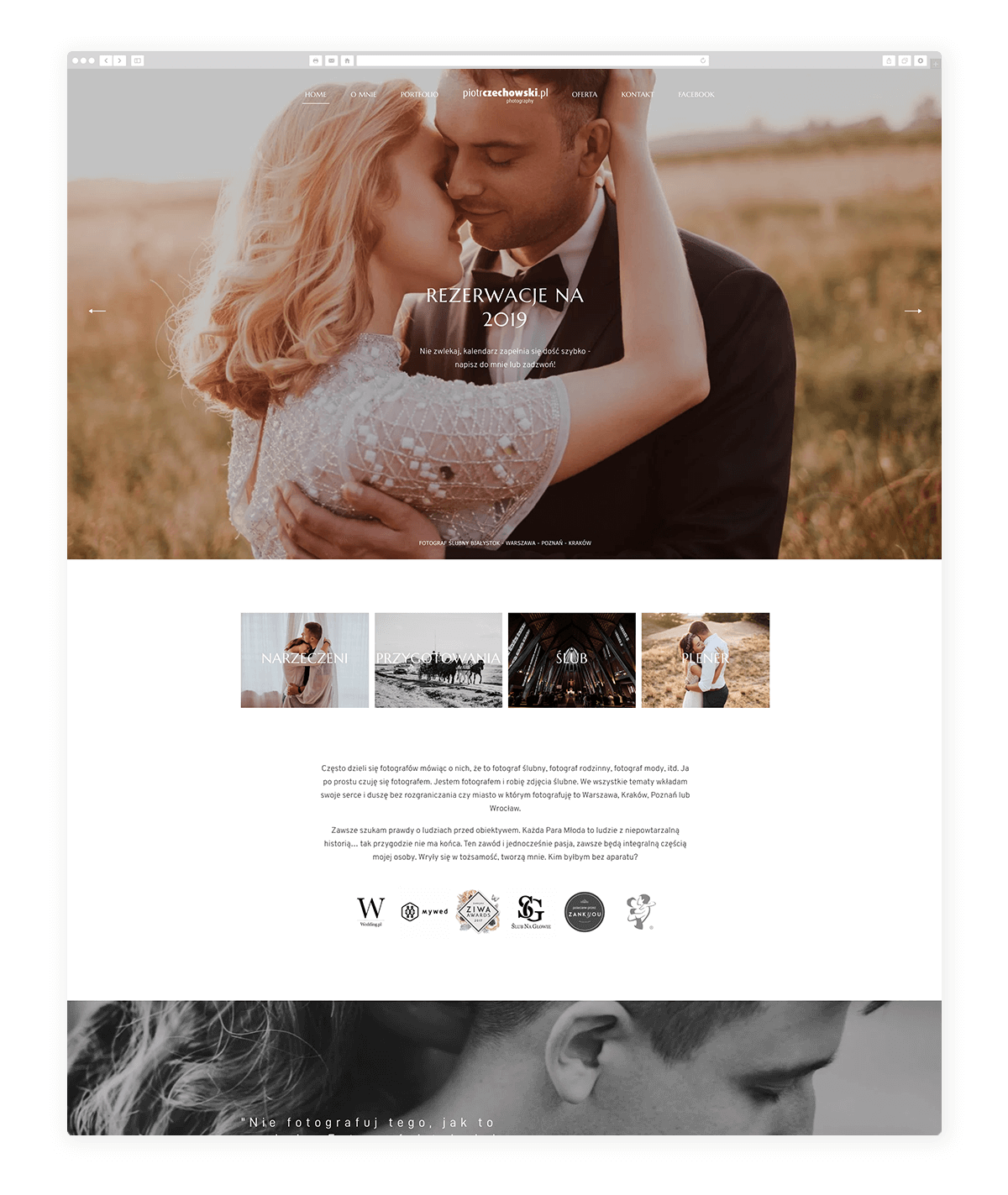 15 amazing photography website built with Fiji theme, piotr czechowski poland wedding photography