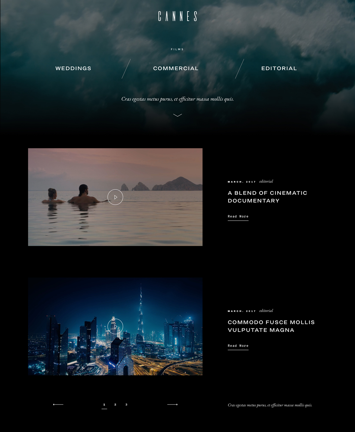 cannes-giveaway-videography-website-theme-portfolio listing page layout