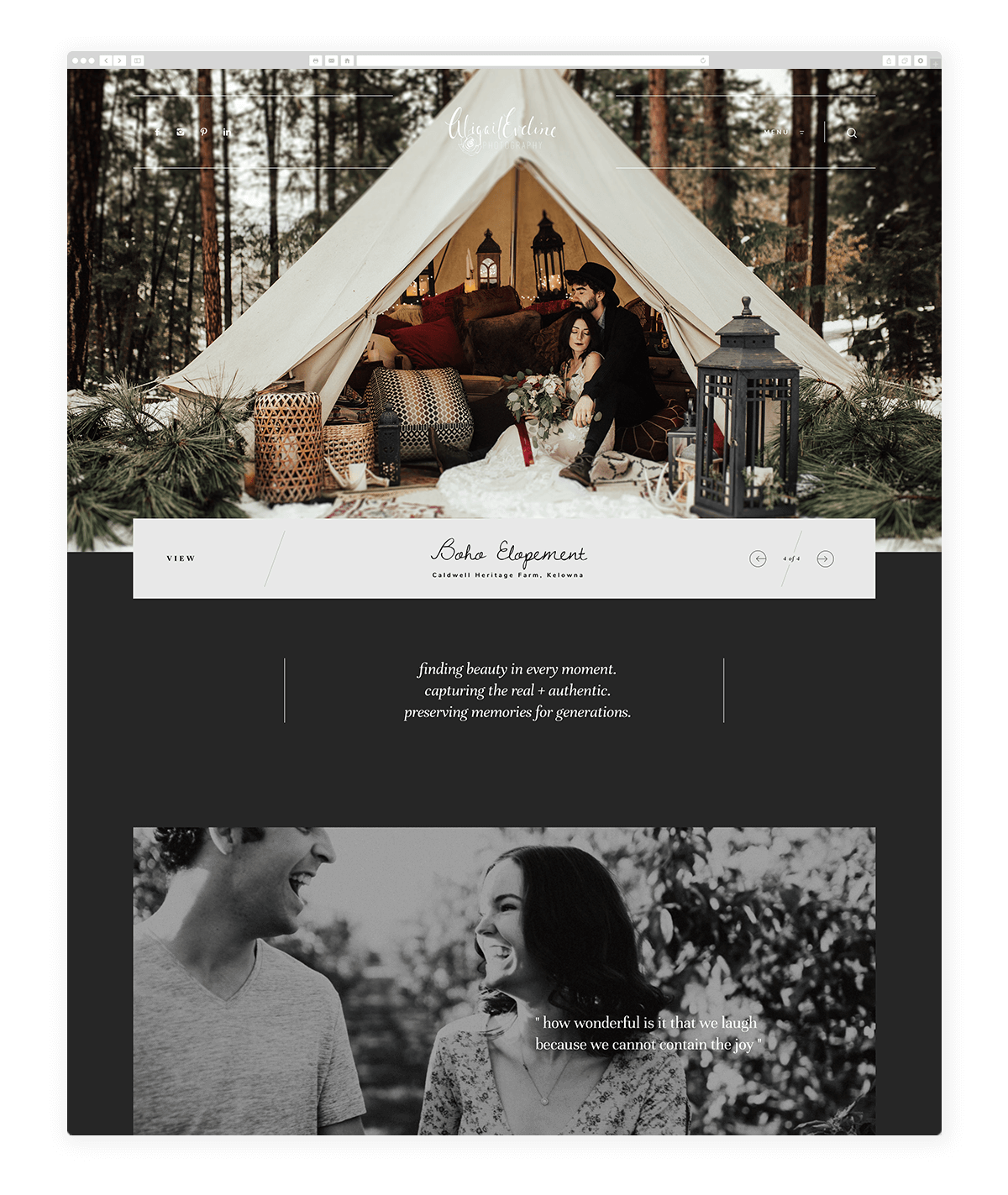 abigail eveline photography, dark website design, photography-examples-flothemes