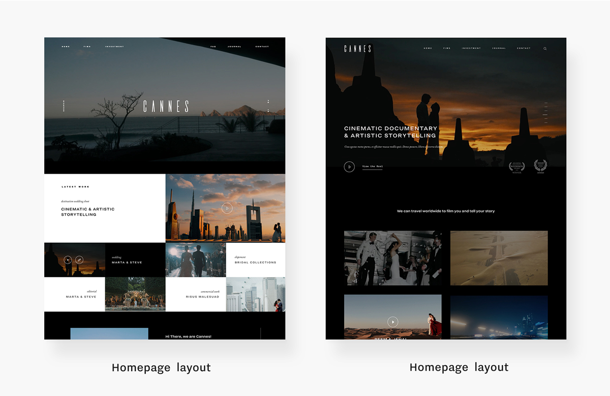 cannes-giveaway-videography-website-theme-Home page layout variations, flothemes
