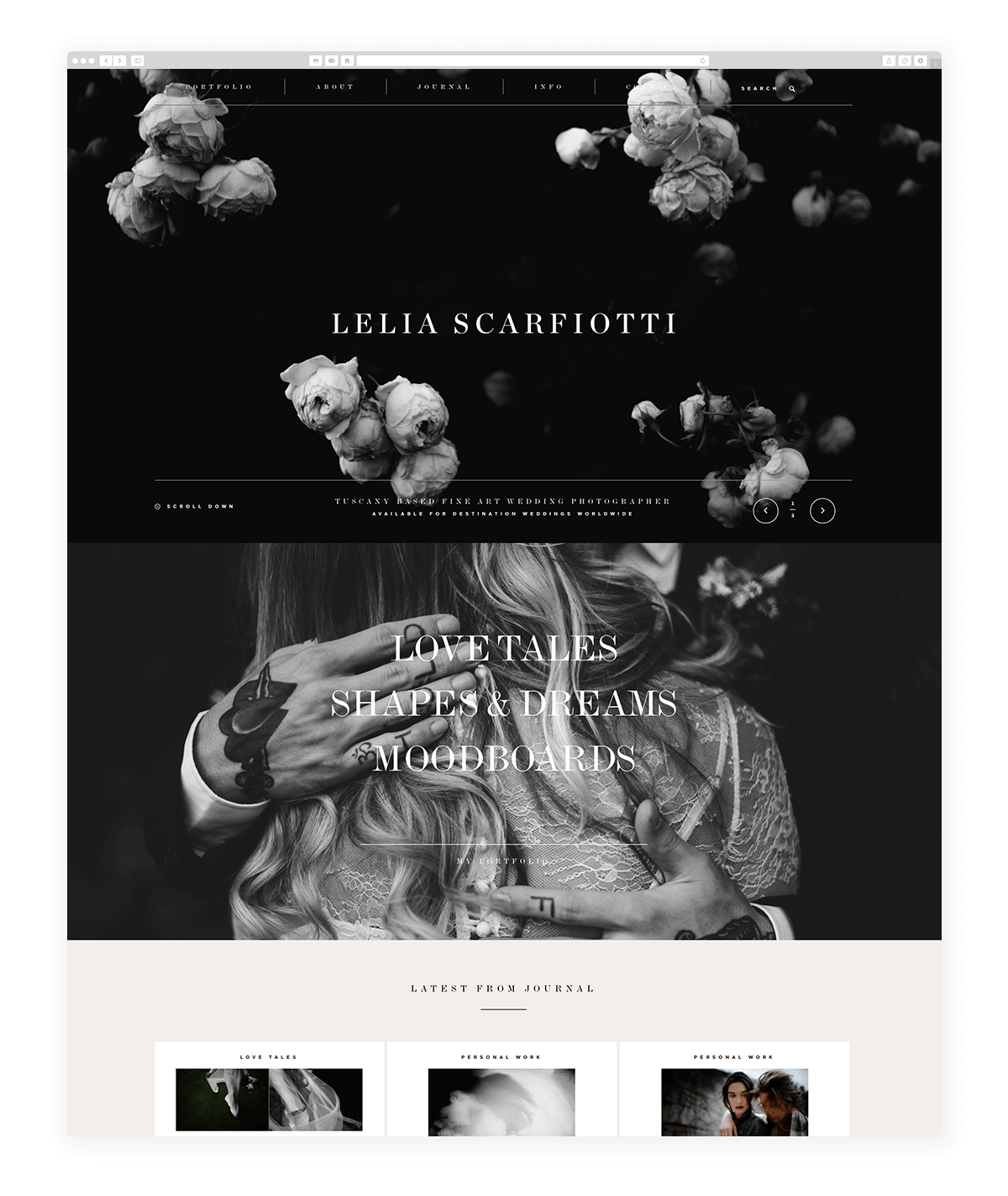 dark website design, photography-examples-flothemes, Lelia Scarfiotti