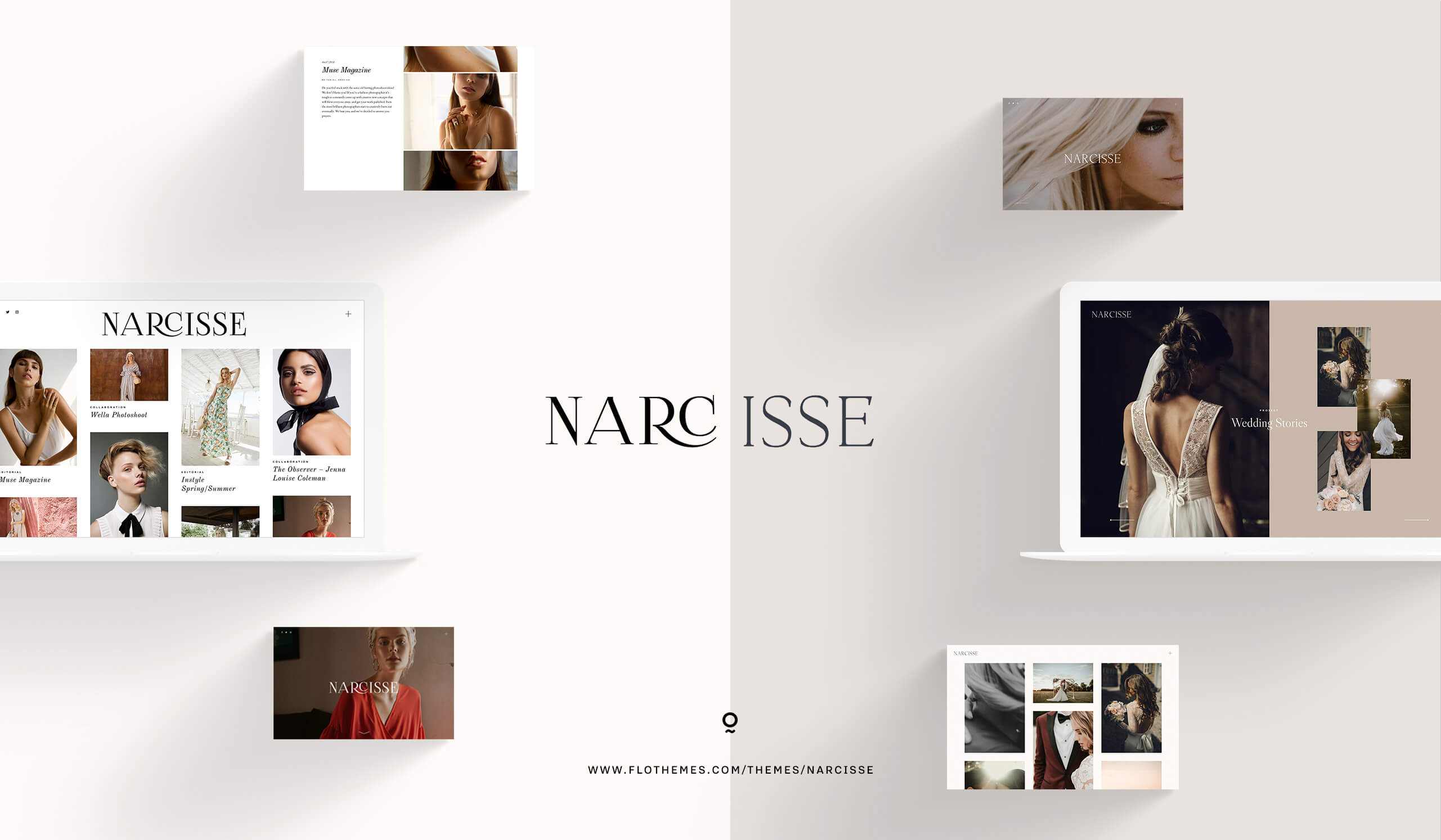 New theme: Narcisse website design for photographers, wedding, fashion, portrait, editorial, fine art, lifestyle, 2 stylekits