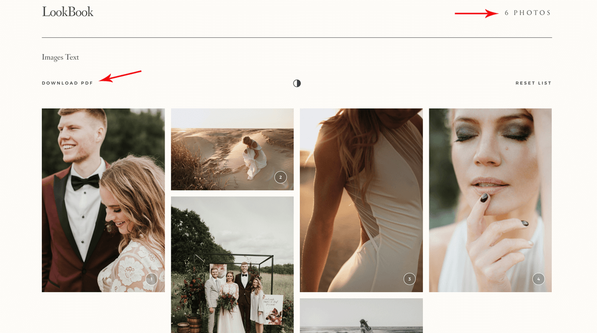 Narcisse weddinh photography website design Miks Sels photography, Lookbook option 2