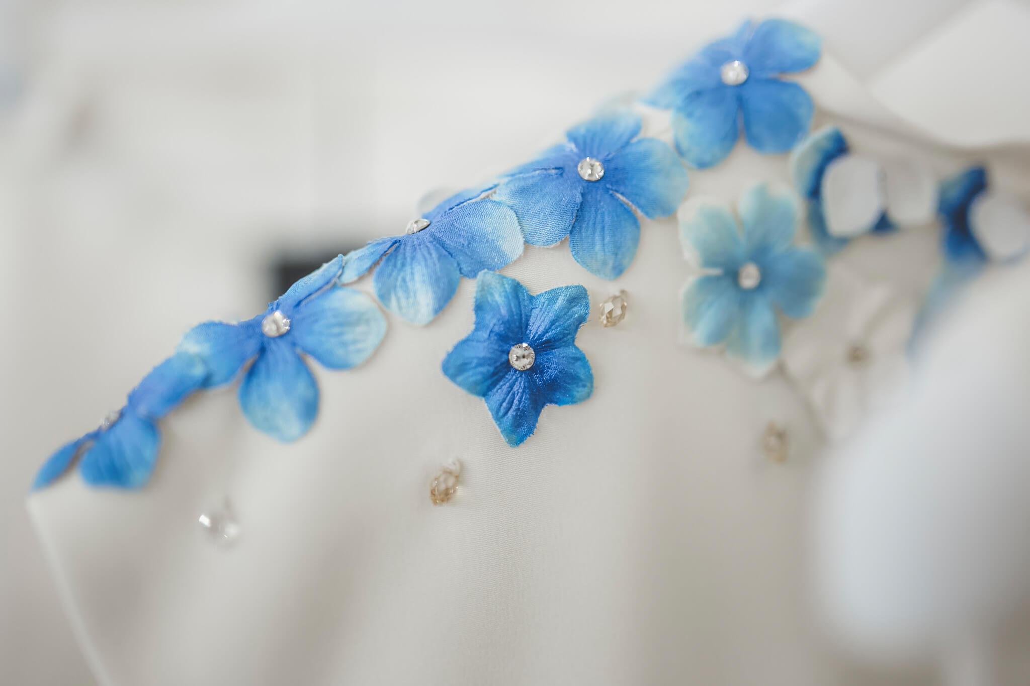 How to organize a styled photoshoot. Luca Ranja photography, blue flowers wedding dress