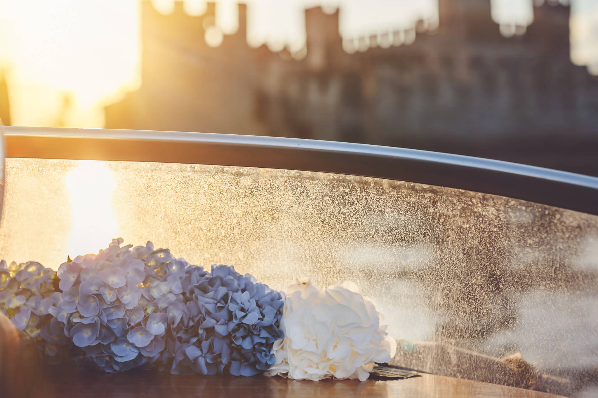 How to organize a styled photoshoot. Luca Ranja photography, wedding on a motor boat, blue bouquet